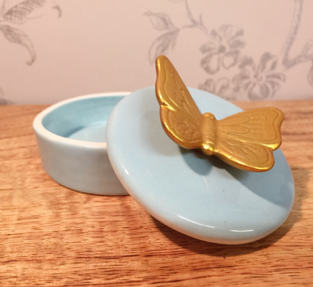 Small Ceramic Trinket Jewellery Dish & Butterfly Lid ~ Blue